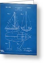 1948 Sailboat Patent Artwork - Blueprint Greeting Card