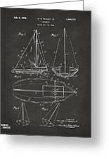 1948 Sailboat Patent Artwork - Gray Greeting Card