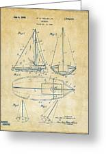 1948 Sailboat Patent Artwork - Vintage Greeting Card by Nikki Marie Smith