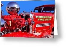 1949 Ahrens Fox Piston Pumper Fire Truck Greeting Card