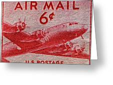 1949 Dc-4 Skymaster Air Mail Stamp Greeting Card