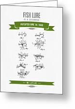 1949 Fish Lure Patent Drawing - Retro Green Greeting Card