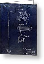 1949 Golf Putter Patent Drawing Blue Greeting Card