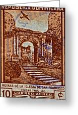 1949 San Francisco Ruins Dominican Republic Stamp Greeting Card