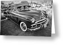 1950 Chevrolet Sedan Deluxe Painted Bw   Greeting Card