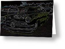 1950 Ford Coupe Neon Glow Greeting Card