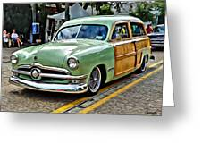 1950 Ford Deluxe Woody Station Wagon Greeting Card