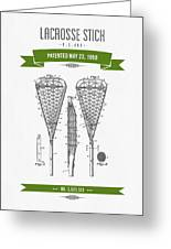 1950 Lacrosse Stick Patent Drawing - Retro Green Greeting Card