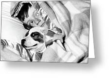 1950s Boy Hiding Under Blanket In Bed Greeting Card