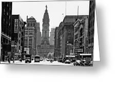 1950s Downtown Philadelphia Pa Usa Greeting Card