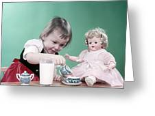 1950s Little Girl Toddler And Baby Doll Greeting Card