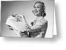 1950s Proud Smiling Woman Housewife Greeting Card