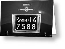 1951 Ferrari 212 Export Berlinetta Rear Emblem - License Plate -0775bw Greeting Card
