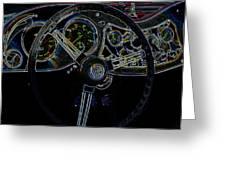 1951 Mg Td Dashboard_neon Car Art Greeting Card