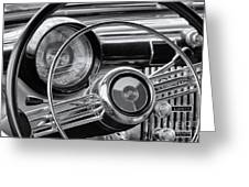 1953 Buick Super Dashboard And Steering Wheel Bw Greeting Card