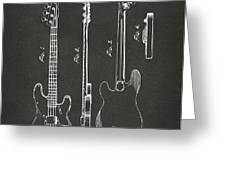1953 Fender Bass Guitar Patent Artwork - Gray Greeting Card by Nikki Marie Smith