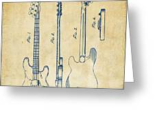 1953 Fender Bass Guitar Patent Artwork - Vintage Greeting Card by Nikki Marie Smith