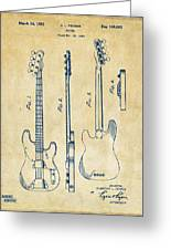 1953 Fender Bass Guitar Patent Artwork - Vintage Greeting Card