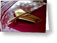 1953 Kaiser Golden Dragon Hood Ornament 3 Greeting Card