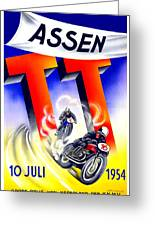 1954 - Assen Tt Motorcycle Poster - Color Greeting Card