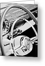 1954 Chevrolet Belair Steering Wheel Emblem -1535bw Greeting Card