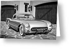 1954 Chevrolet Corvette -183bw Greeting Card