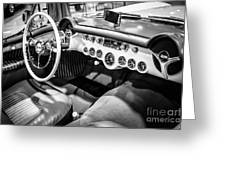 1954 Chevrolet Corvette Interior Black And White Picture Greeting Card