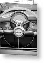 1954 Chevrolet Corvette Steering Wheel -382bw Greeting Card