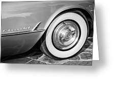 1954 Chevrolet Corvette Wheel Emblem -159bw Greeting Card