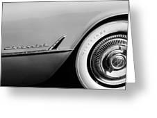 1954 Chevrolet Corvette Wheel Emblem -282bw Greeting Card