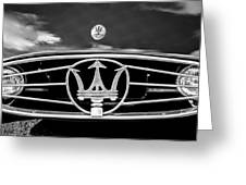 1954 Maserati A6 Gcs Grille Emblem -0259bw Greeting Card