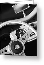 1954 Mg Tf Steering Wheel Emblem -0920bw Greeting Card