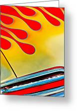 1954 Studebaker Champion Coupe Hot Rod Red With Flames - Grille Emblem Greeting Card by Jill Reger