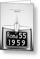 1955 Alfa Romeo 1900 Css Ghia Aigle Cabriolet Grille Emblem - Super Sprint Emblem -0601bw Greeting Card