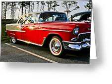 1955 Chevy Bel Air Down The Side - Red And White Greeting Card