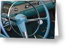 1955 Chevy Nomad Steering Wheel Greeting Card