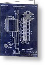 1955 Rocket Launcher Patent Drawing Blue Greeting Card