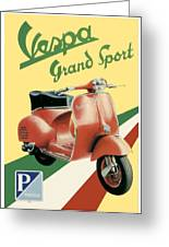 1955 - Vespa Grand Sport Motor Scooter Advertisement - Color Greeting Card