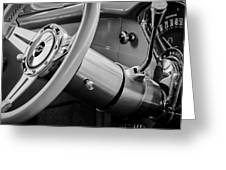1956 Chevrolet 210 2-door Handyman Wagon Steering Wheel Emblem -189bw Greeting Card