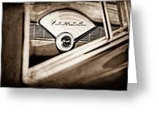 1956 Chevrolet Belair Nomad Dashboard Emblem Greeting Card