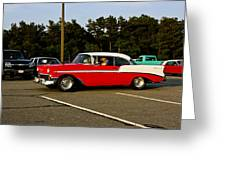 1956 Chevy Bel Air Red And White Greeting Card