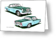1956 Studebaker Coming And Going Greeting Card