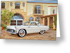 1956 Thunderbird At Palm Beach  Classic Vintage Ford Art Sketch Rendering          Greeting Card
