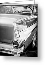 1957 Chevrolet Belair Coupe Tail Fin -019bw Greeting Card