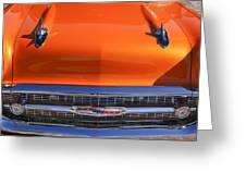 1957 Chevrolet Belair Hood Ornament - Grille Emblem -055c Greeting Card