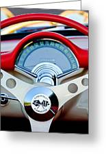 1957 Chevrolet Corvette Convertible Steering Wheel Greeting Card by Jill Reger
