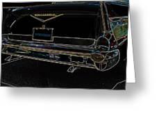 1957 Chevrolet Rear View Art Black_varooom Tag Greeting Card