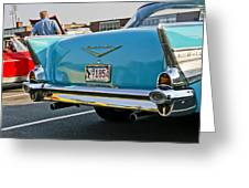 1957 Chevy Bel Air Blue From Rear Greeting Card