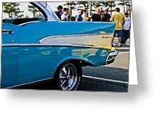 1957 Chevy Bel Air Blue Rear Quarter Greeting Card