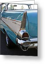 1957 Chevy Bel Air Blue Rear Quarter From Back Greeting Card